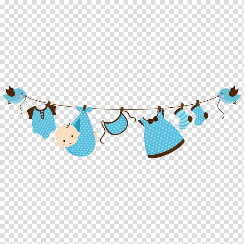 Toddler's clothes hanging on rope illustration, Baby shower Wedding.