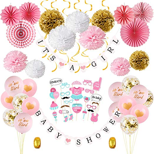Girl Baby Shower Decorations Kit.