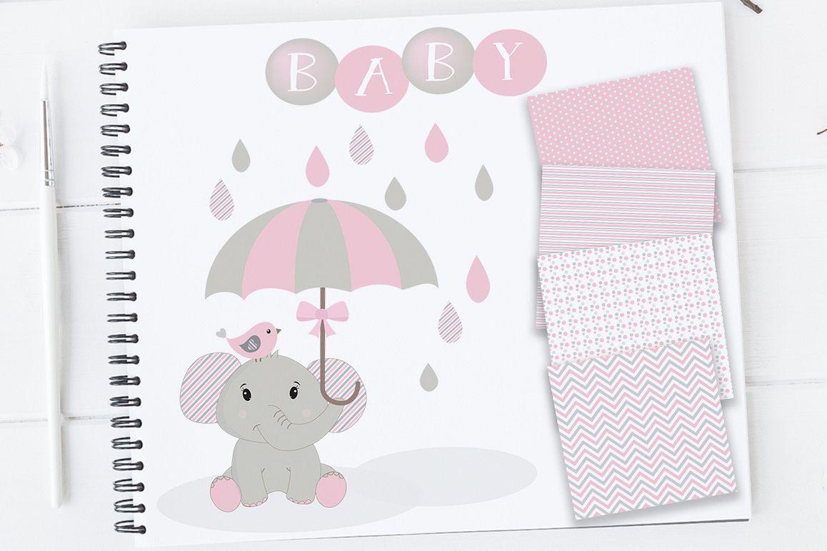 Baby Girl Clipart, Elephant Clipart, Baby Clip art, Baby Shower Elephants,  Elephants Clip Art, Elephant Nursery, Baby Girl Elephants Clipart.