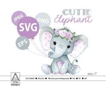 Cute floral Girl Elephant SVG,vector clip art,baby girl elephant for baby  shower.