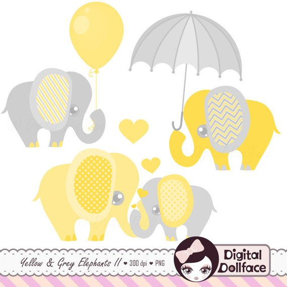 Elephant Baby Shower Clipart, Baby and Mommy, Elephant with Balloon.