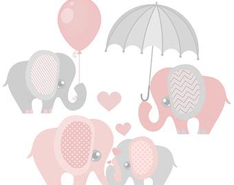 Elephant Baby Shower Clipart Baby and Mommy by.