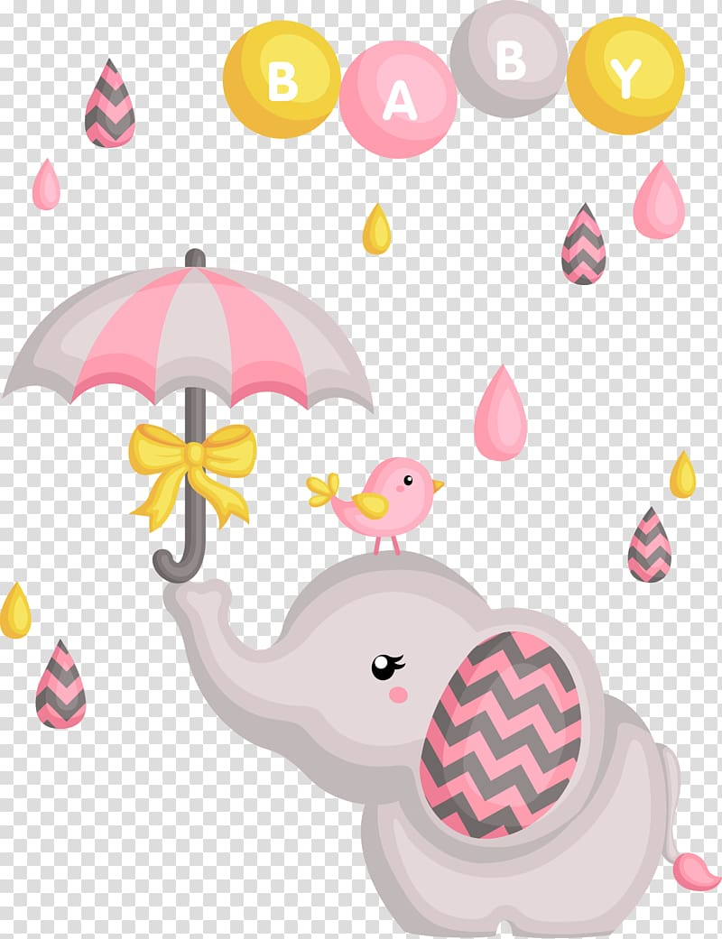 Gray elephant and umbrella illustration, Baby shower.