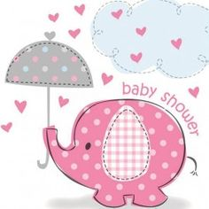 Pink elephant baby shower clip art.