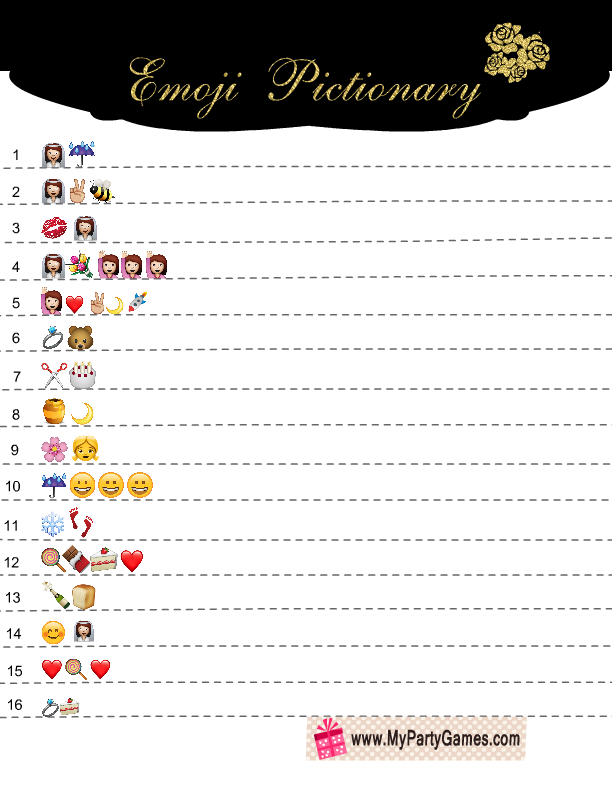 Free Printable Bridal Shower Emoji Pictionary Game.