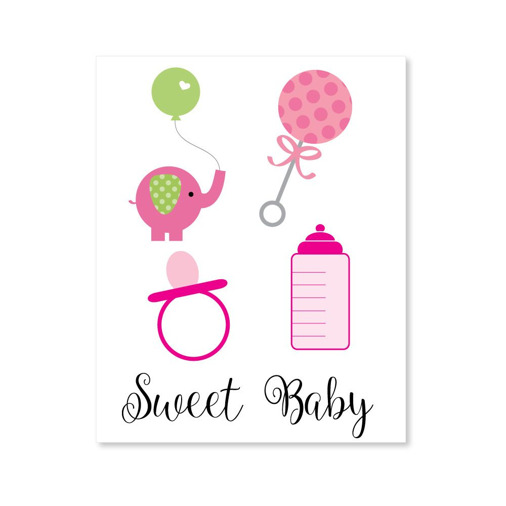 Printable Baby Shower Girl Clipart for baby shower.