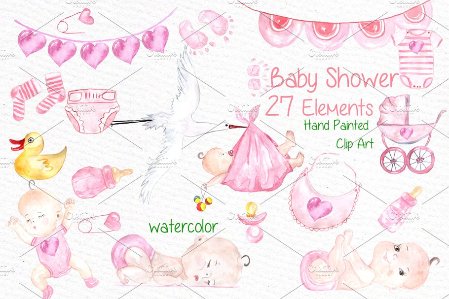 Watercolor baby shower girl clipart.