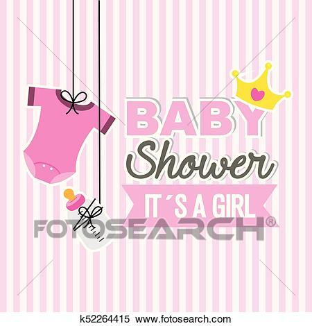 Baby shower girl Clipart.