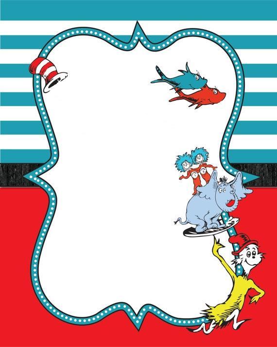 Dr Seuss Border Guest Book Baby Shower Invitation.