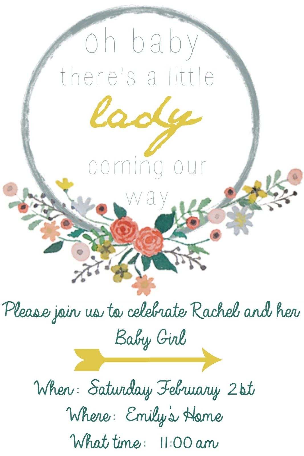 Free Baby shower invitation template and floral wreath clip art.