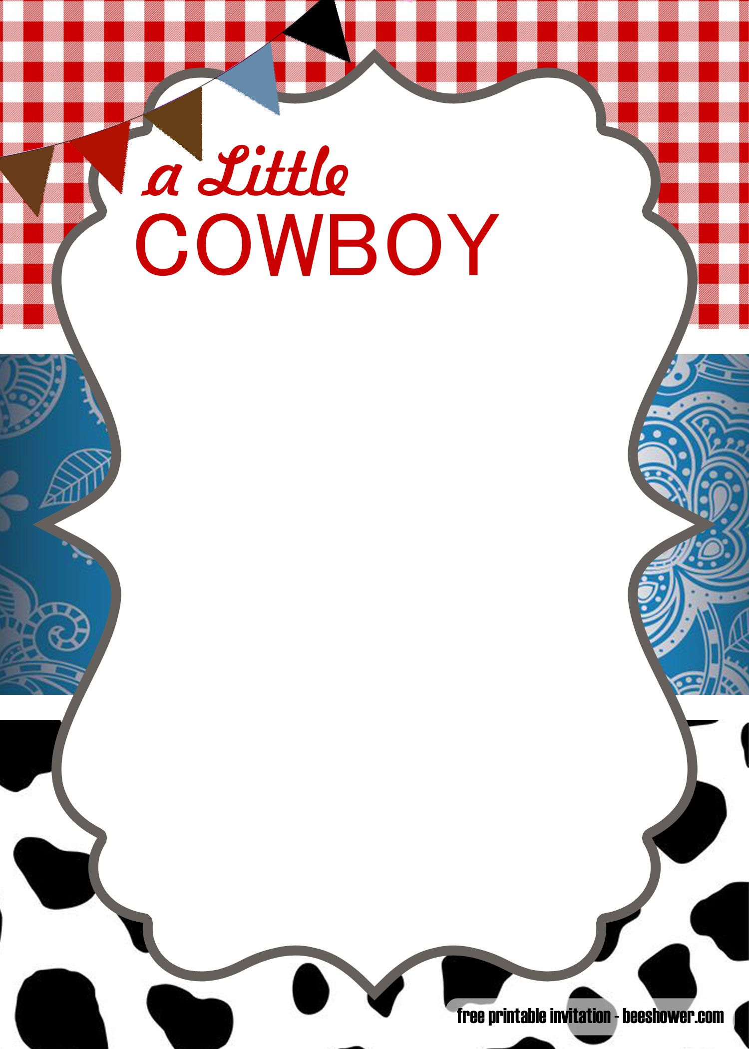Get FREE Cowboy Baby Shower Invitation Templates in 2019.