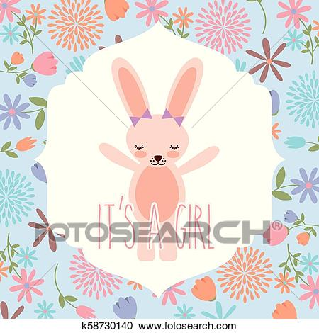Pink rabbit wit bow baby shower its a girl Clipart.