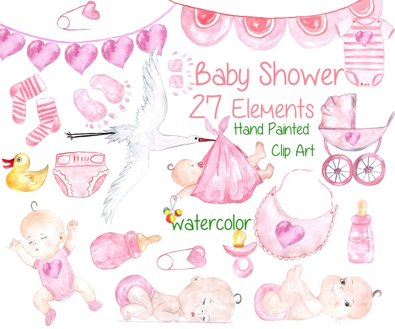 Watercolor baby girl clipart: