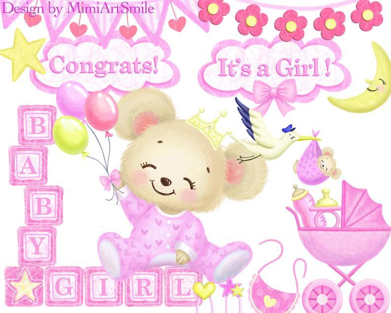 baby girl clipart, baby shower clipart, teddy bear, stroller clipart, it's  a girl, building block clipart, stork clipart, garland clipart.