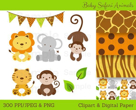 Cute Jungle Animal Clipart / Safari Animal Clipart / Jungle Animal Clipart  / Jungle Animal Baby Shower / PERSONAL USE Instant Download A100.