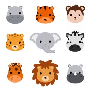 Baby Shower Cute Safari Animals Set Of Animal Vector.