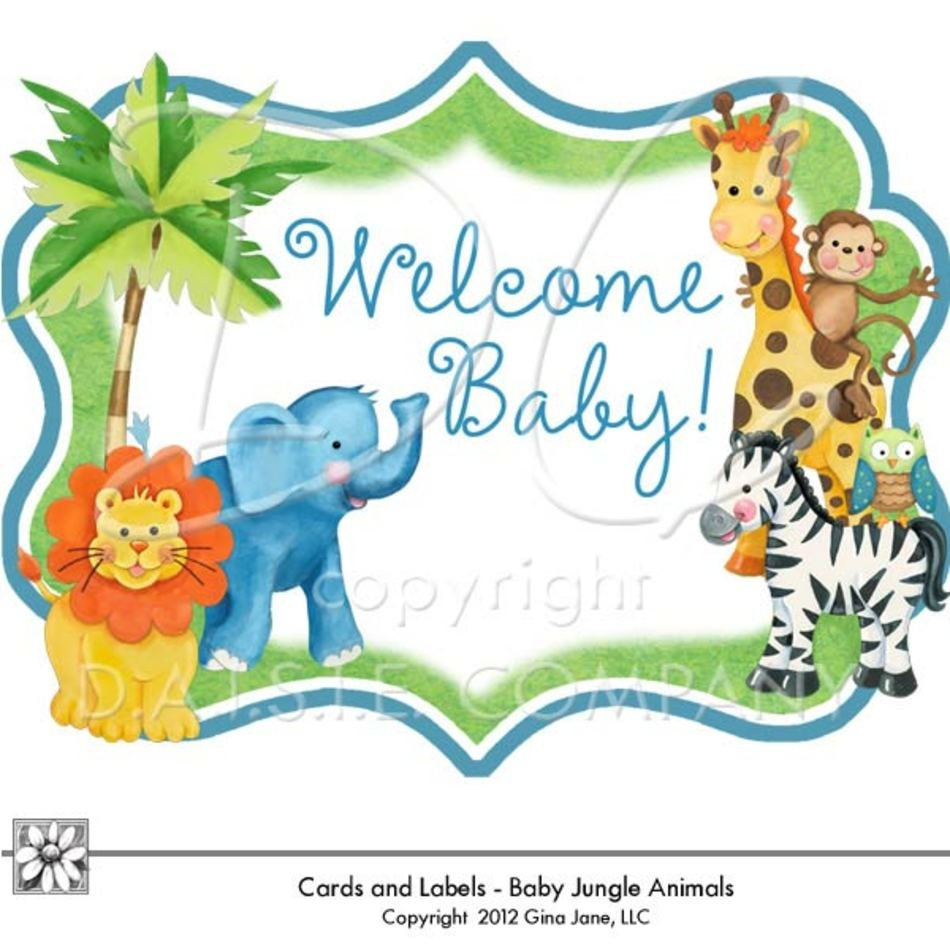 Baby Shower Jungle Safari Tags Part Number 1gja 1tag clipart free image.