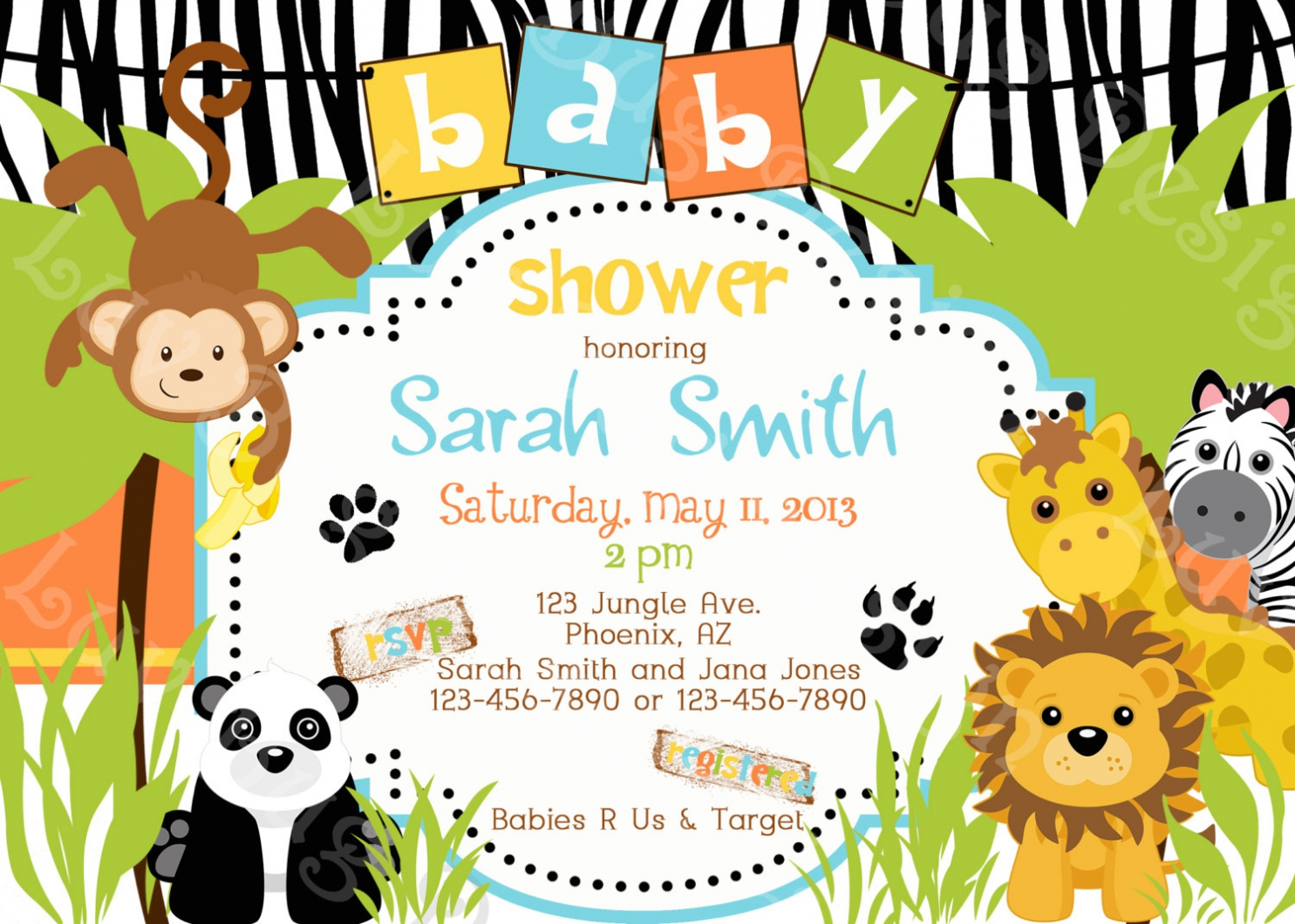 baby shower jungle theme clipart