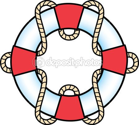 Red And White Life Preserver Ring With A Rope — Stock Vector.