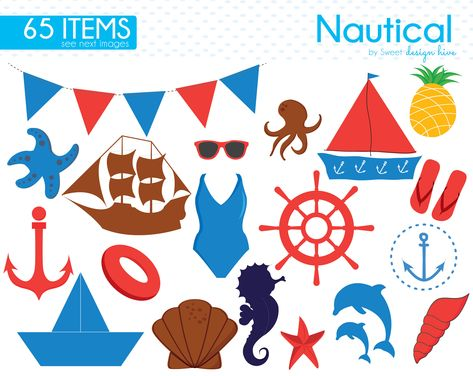 Nautical Clipart, Sea Clipart, Sailor, Sailing, Ocean.