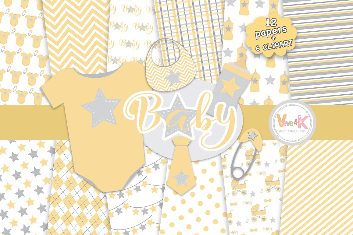 Yellow Baby Digital Papers, Baby Clip Art, Neutral Baby Shower DIY, Yellow  and Gray Baby Papers, Baby Shower Graphics.