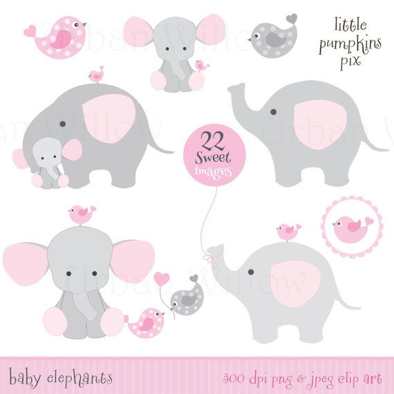 Baby elephants, Cute Clipart elephant.