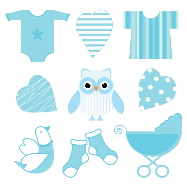 Cute Blue Baby Owl Baby Tools And Love Suitable For Baby Shower Boy.