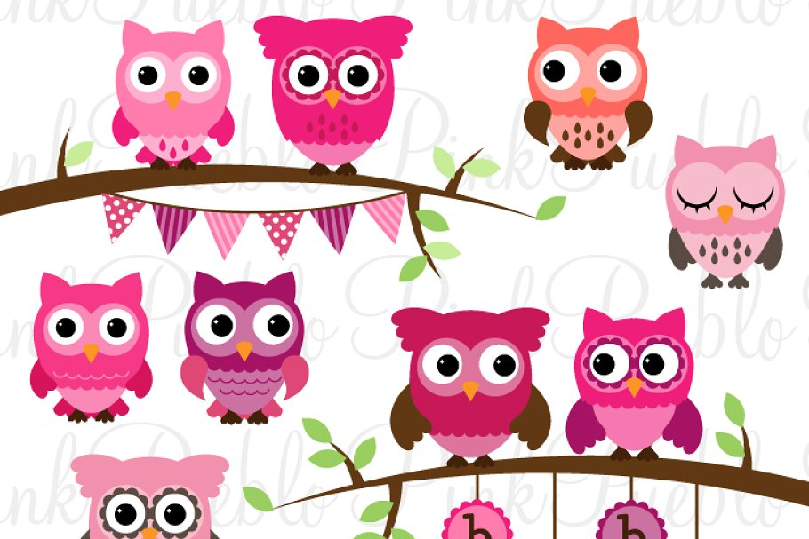 Girl Baby Shower Owl Clipart/Vector.