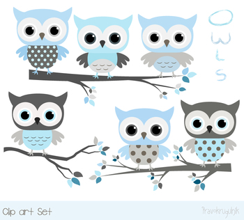 Cute blue gray owls clipart with tree branches, Baby shower boy animal clip  art.