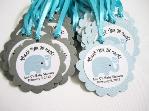 Personalized Elephant Favor Tags for Baby Boy Shower Party.