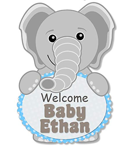 Amazon.com: Personalized Blue Elephant Baby Shower or.