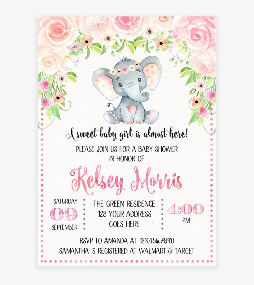 Blush Pink Floral Elephant Baby Shower Invitation Printable.