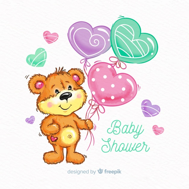Free Cute watercolor baby shower design SVG DXF EPS PNG.