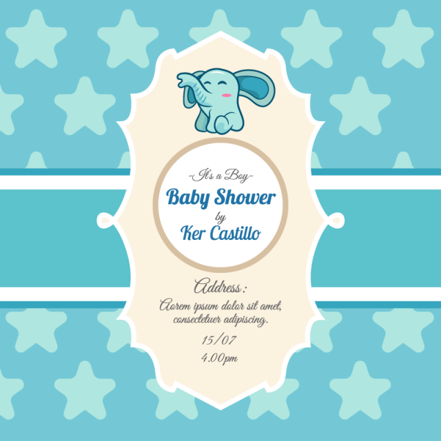 Blue Card For Baby Shower With A Cute Elephant, Nvitation, Baby Card.