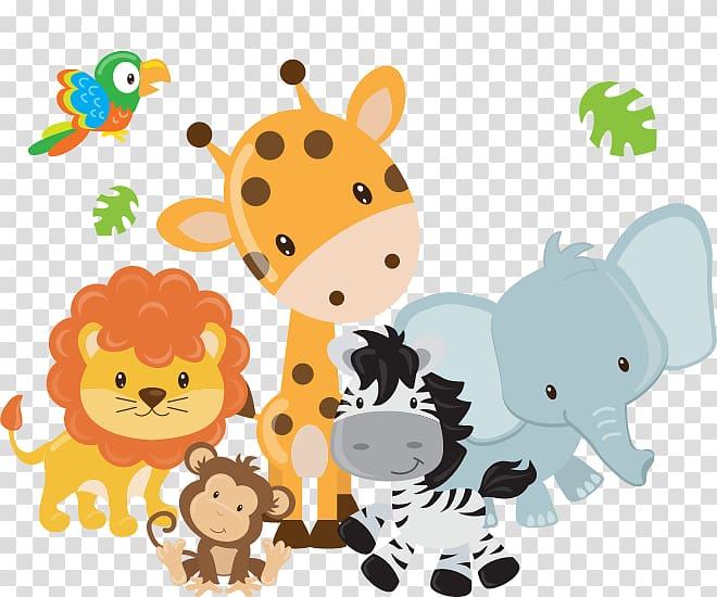 Elephant, zebra, monkey, giraffe, and lion , Safari Elephant.