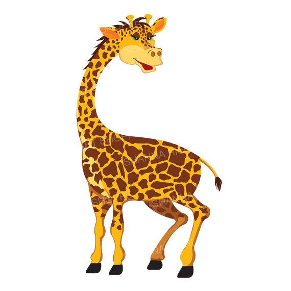 Giraffe clipart jungle safari baby shower instant download.
