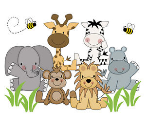 Details about Safari Nursery Decor Wall Art Decal Jungle Animals Mural  Stickers Baby Shower.