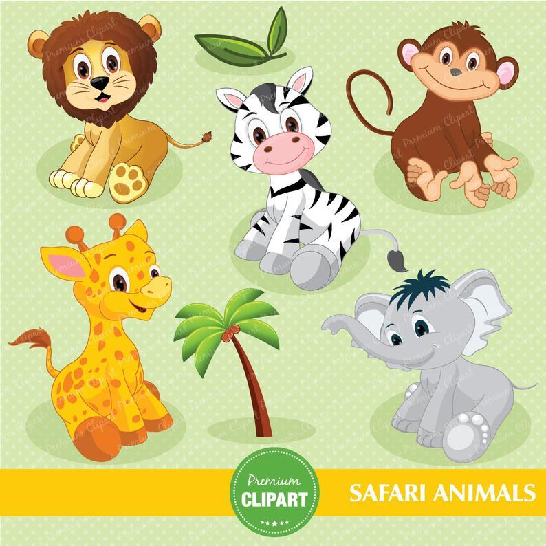 Safari animals digital clipart, jungle clip art, baby shower clipart,  nursery clipart, jungle animals clipart.