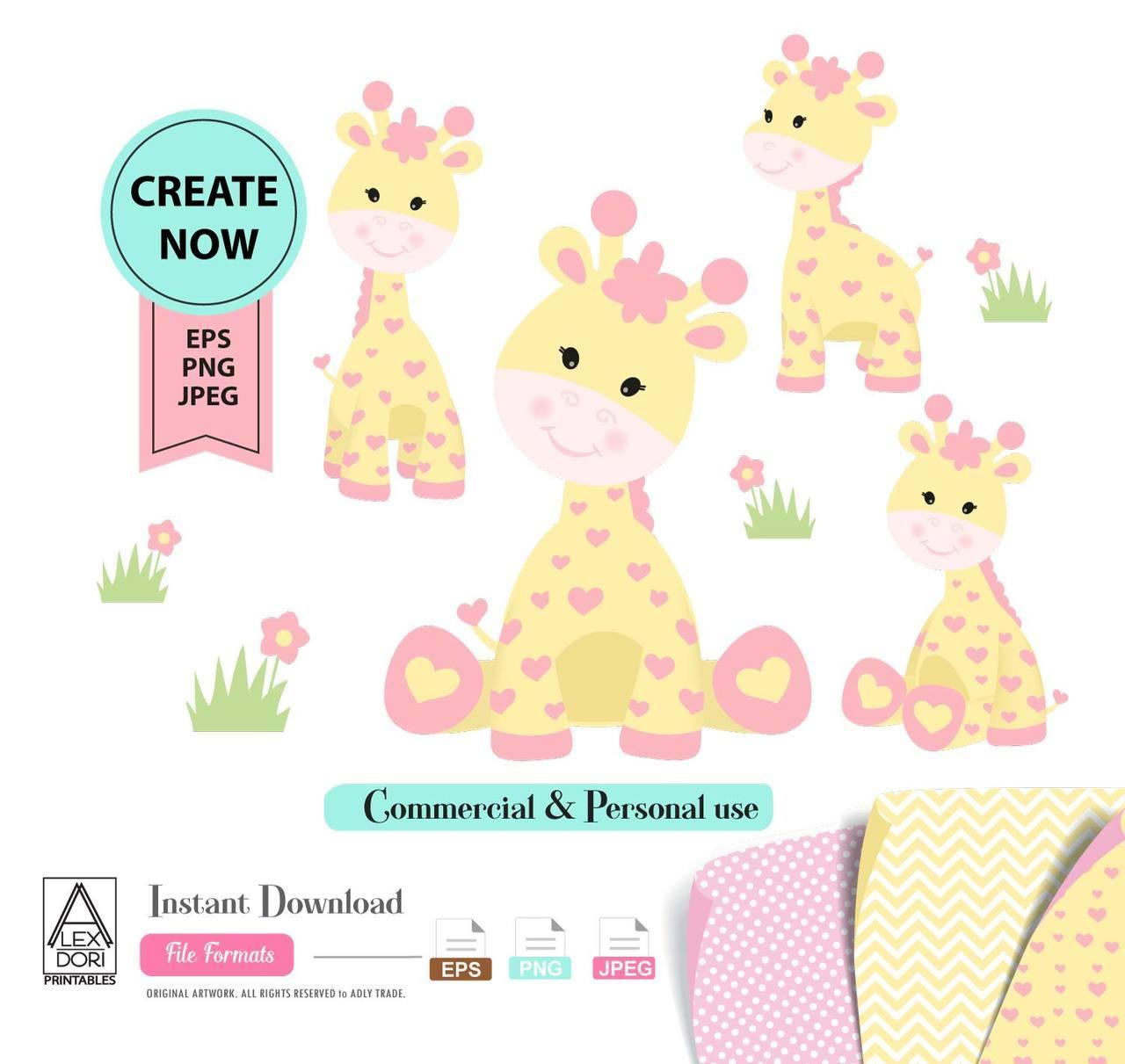 Girl Giraffe Clip art, Yellow baby giraffe with pink hearts for baby  shower, nursery wall art, shower decoration, t.