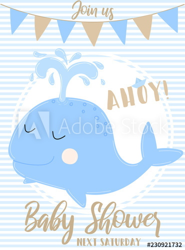 Vector image of a blue whale with the inscription Baby.