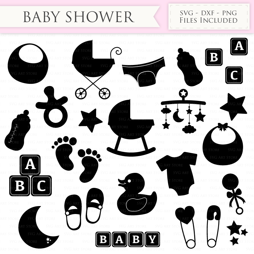 Baby Shower SVG Files First Birthday, new mom, newborn baby svg cutting  files Cricut and Silhouette SVG dxf png jpg included.