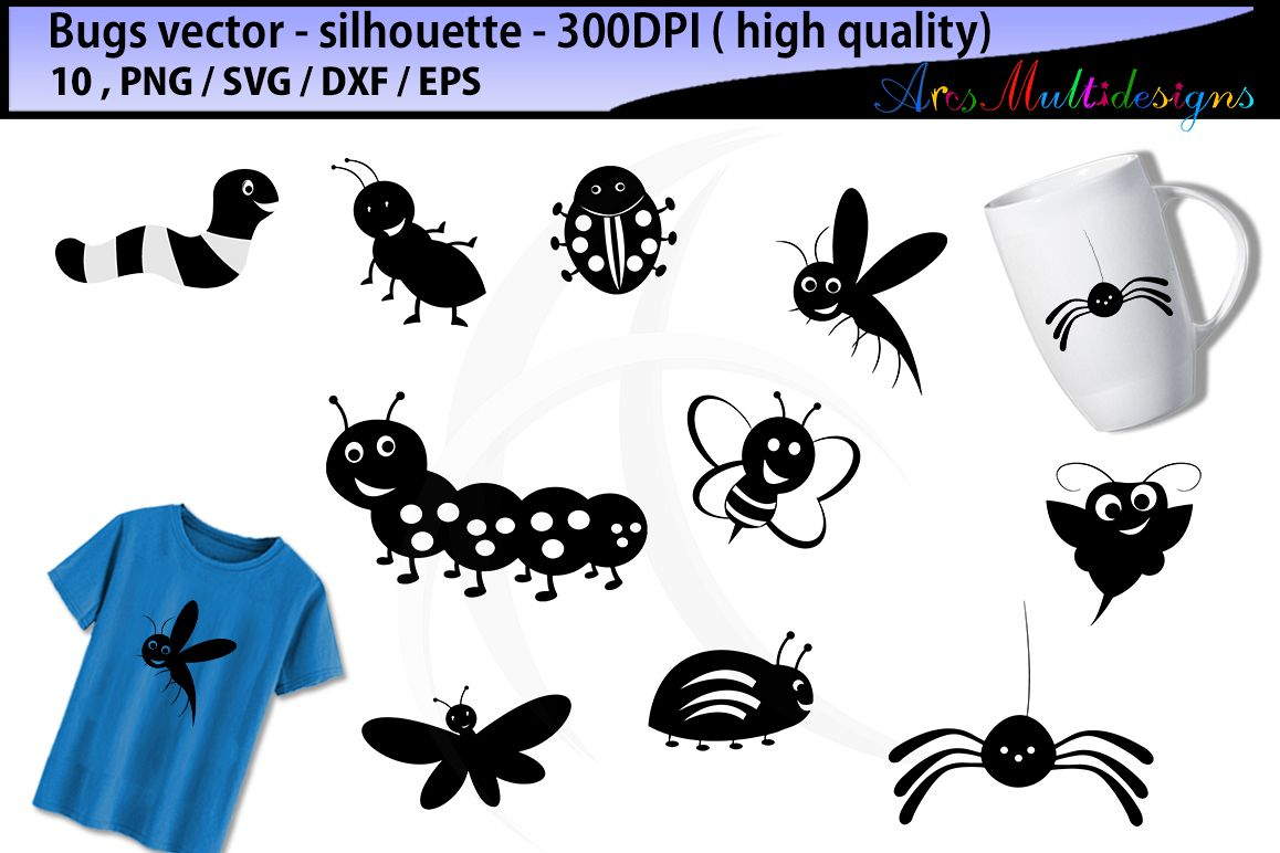 bugs SVG silhouette / bugs / insects / insect clipart / cartoon bugs Baby  Shower Bugs Clip art / cute bugs / digital clip art.
