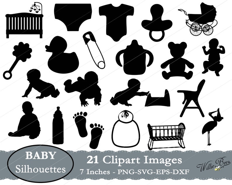 Baby Clipart SVG Images, Baby Shower SVG Clipart, Newborn Baby, Baby Crib,  Baby Diaper Image, Baby Bib, Birthday Party, Instant Download.