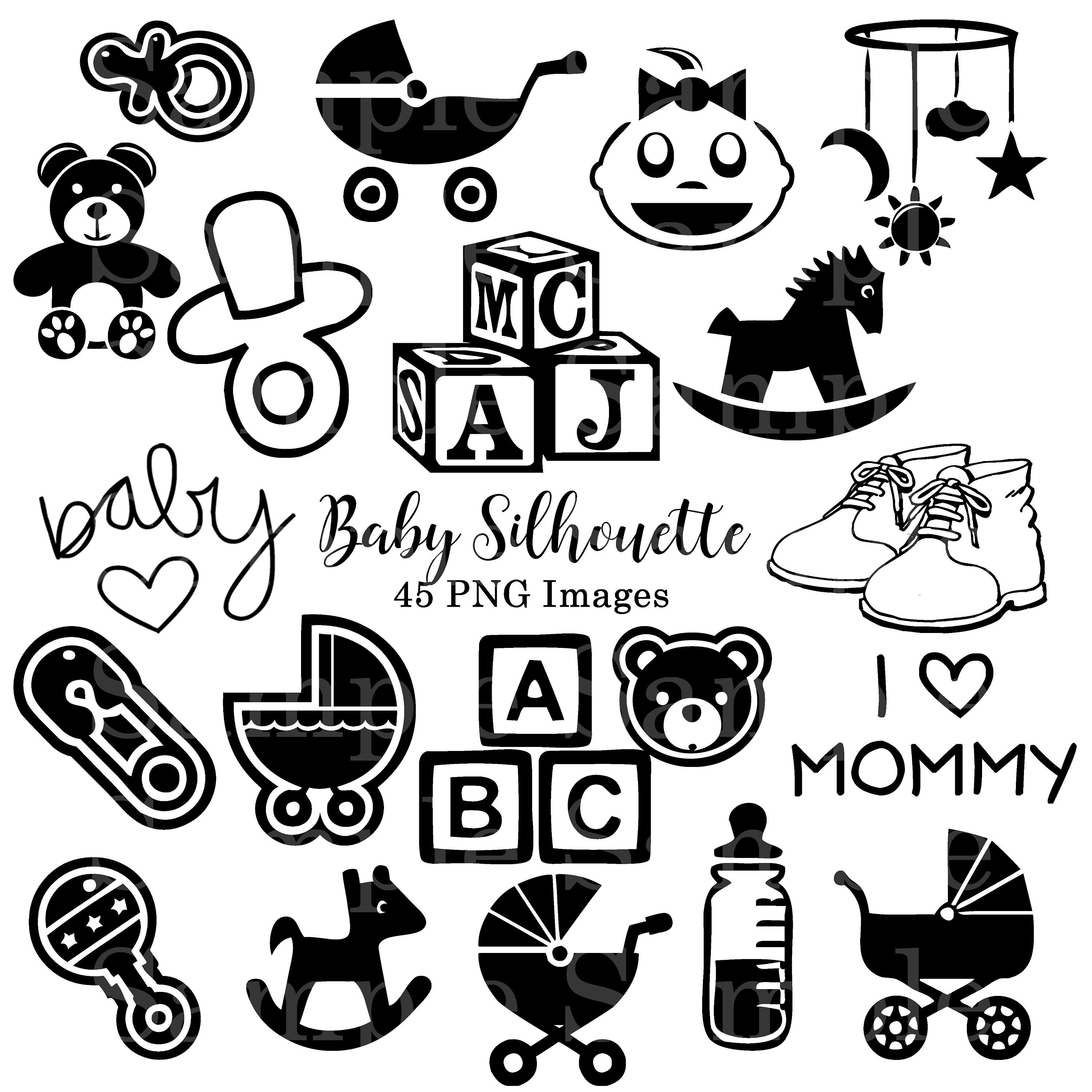 Baby Black and White Silhouette Clipart, Baby Shower, Invitations Clip Art,  Digital Download, Clip Art, Cricut Design Shape 45 Images.