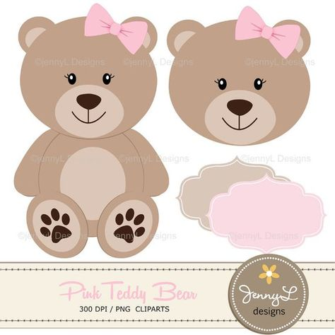 Pink Teddy Bear Digital papers, Teddy Bear clipart, Girl.