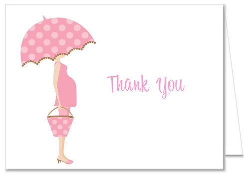 Mod Mom Trendy Girl Pink Baby Shower Thank You Note Cards.