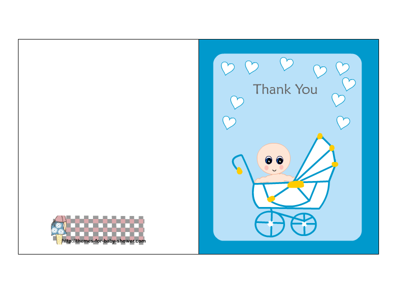 Free Printable Blue Baby Shower Thank You Cards.
