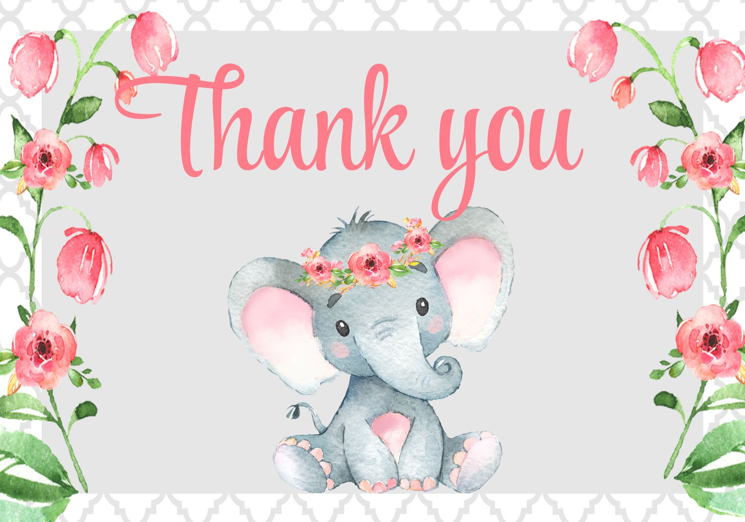 Elephant Floral Baby Shower Thank You Card.