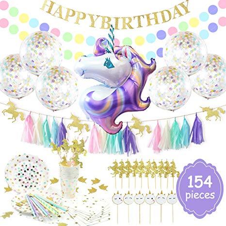 Amazon.com: NICROLANDEE 154pcs Unicorn Party Supplies Serves.
