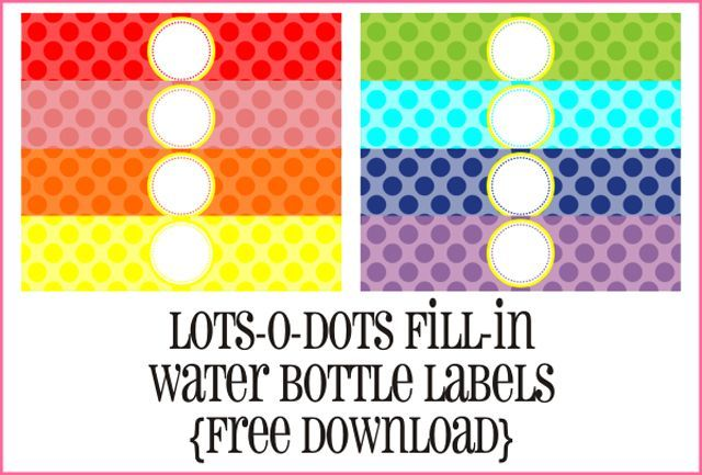 7 Sets of Free, Printable Water Bottle Labels.